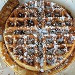 Breakfast #1: banana walnut waffle!!