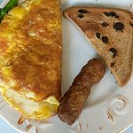 Breakfast #2: Omelet (delicious!), sausage and toast