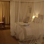 My room with the mosquito net down - wasn't really needed