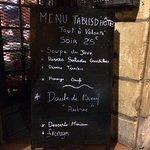 La carte de ce soir : menu à 25€
