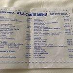 Selection from the Golden Grill A'La Carte menu April 2017