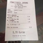 ticket Confitería Jarama
