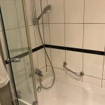 Typical German shower/tub design, but the tall step was bad for seniors