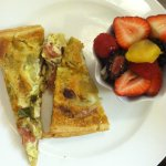 two small 1/2s of 2 different quiches...& fruit