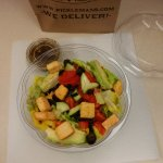 Avo-Cobb Salad with added black olives, cucumbers and banana peppers.