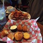 Brisket, Sweet Potato Fries & Slaw Complimentary Corn Bread, yum