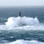 Stormy seas over Longships Lighthouse