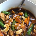 Fresh made on the spot Cashew Chicken