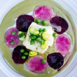 Watermelon radish, Bull's Blood beets, fresh spring peas and faves, chèvre, artichoke whip