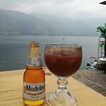 Michelada from Bar/Hostel Fe in San Pedro La Laguna, in front of the Lake of Atitlan... Magical!