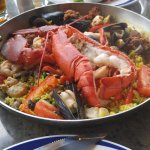lobster paella, shrimp, mussels