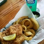 Fish and chips , substituted fries for onion rings .