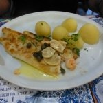 Sole with mushroom, capers, prawns and butter sauce