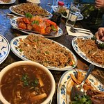 Hot and sour soup, broccoli beef, pork fried rice, sweet and sour pork, chicken lo neon and whit
