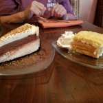 Left: White chocolate fudge cake and Almond tiramisu cake (homemade)