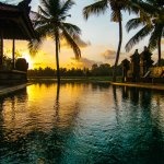 enjoy sunset from our salt water pool