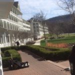Looking along the front of the hotel from the porch rocking chairs