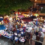 The Saturday night market below the hotel rooms.