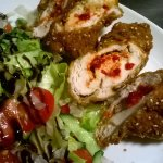 Hot-Spicy Fried Chicken Breast with Seed and Fresh Chef-Salad