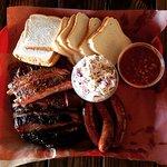 Pork ribs, brisket, hot links, beans and slaw