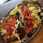 Blackened Mahi Mahi (fish) and Mushroom & Cactus with grilled cheese tacos