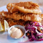Fish and Sticks, which was beer battered Pickerel, with a caper coleslaw, smoked paprika and piq