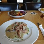 Delicious smoked chicken with bacon and mushrooms in a cream sauce with mixed veg