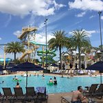 Four Water slides, kids pool cabanas. Great Family place