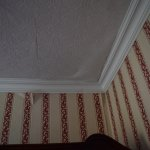 peeling paper from wall and ceiling in bedroom