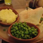 Mash potatoes, mucho peas and the SOY based veggie pitta