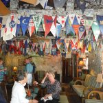 Bar room with many Yacht burgee