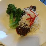 char siu (chinese pork belly) (gf) steamed jasmine rice, sautéed baby broccolini, fried onions a