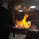 Flaming cheese presented by Jake wow what a start to a great meal