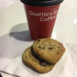 Chill little bar area in the lobby. Freshly baked chocolate chip cookies and Seattle's Best Coff