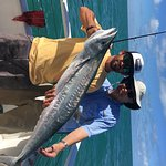Mate and Me with Big Kingfish caught by me on Tortuga IV.
