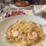 So so good.  Special orders shrimp and scallop Alfredo linguine.  Not on the menu but they made