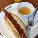 Sausage [long] with soup of the day