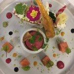 Eclair aux légumes croquants,saumon mariné,mousse de chèvre