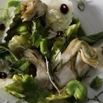 Artichoke, broad beans, mint, parmigiano and balsamico salad.