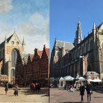 View from town square located 1 block over from the hotel. 1690's Painting was from the same vie