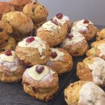 Classic and Gourmet scones.We also have a selection of gluten and dairy free cakes