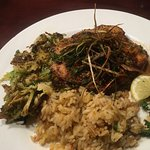 Amberjack with rice and brussel sprouts