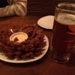 Samuel Adams Lager and Blooming onion.