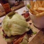 Bacon mushroom burger on a lettuce bun w/ fries!