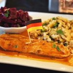 Chicken Paprikash with spätzle & red cabbage