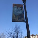 A banner for the Phillips Collection show just outside Darlington House.