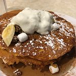 Pumpkin Pancake with Marshmallow and Chocolate Chip