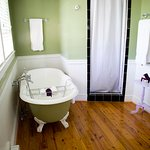 The Lavender Room has a claw foot tub to relax in