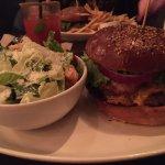 Burger with Bacon & Cheddar & Caesar Salad