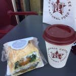 Good food at affordable cost. Squash, feta, and mint wrap and coconut latte. Delicious!